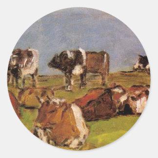 Vaches dans un domaine par Eugene Boudin Sticker Rond