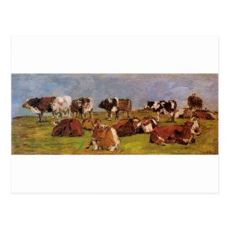 Vaches dans un domaine par Eugene Boudin Cartes Postales