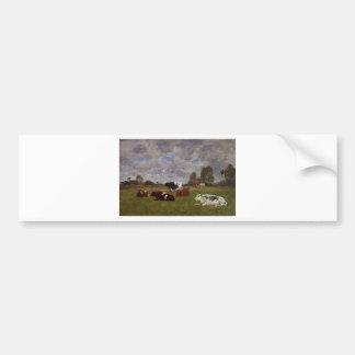 Vaches dans un pâturage par Eugene Boudin Autocollant De Voiture