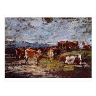 Vaches dans un pâturage par Eugene Boudin Carte Postale