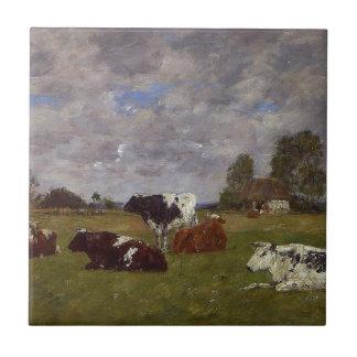 Vaches dans un pâturage par Eugene Boudin Petit Carreau Carré
