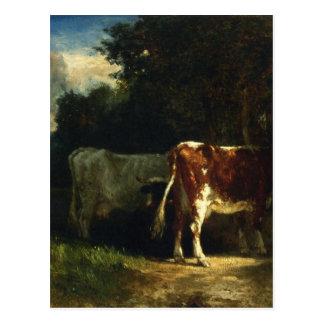 Vaches dans un paysage par Troyon constant Carte Postale
