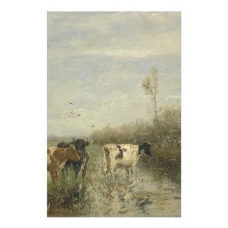 Vaches dans un pré détrempé papier à lettre customisé