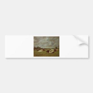 Vaches dans un pré, effet de matin par Eugene Autocollant De Voiture