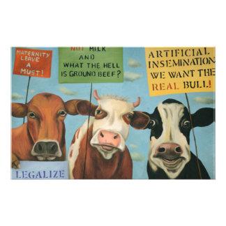 Vaches en grève papiers à lettres