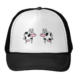 Vaches heureuses à bande dessinée casquette trucker