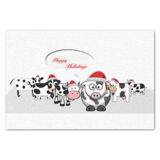 Vaches mignonnes à Noël bonnes fêtes Papier Mousseline