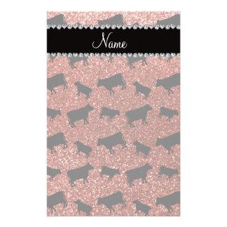 Vaches orange-clair nommées personnalisées à scint motifs pour papier à lettre
