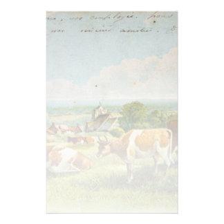 Vaches vintages dans une carte postale de champ papiers à lettres