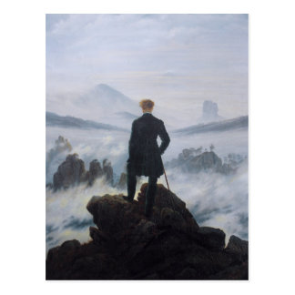 Vagabond au-dessus de la mer du brouillard carte postale