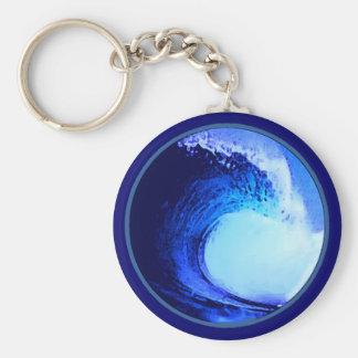 vague bleue de style frais de surf porte-clé rond