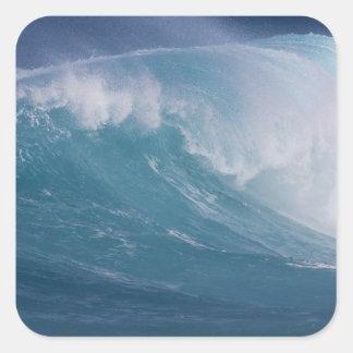 Vague bleue se brisant, Maui, Hawaï, Etats-Unis Sticker Carré