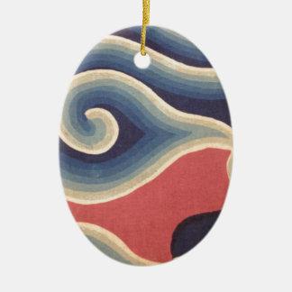 Vague de corail de Japonais de bleu d'indigo Ornement Ovale En Céramique