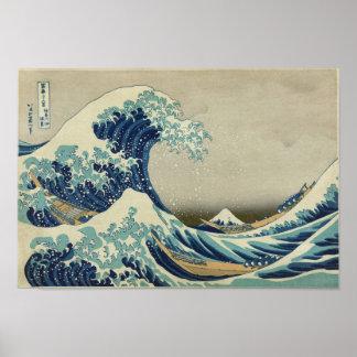 Vague de Kanagawa par Katsushika Hokusai Poster