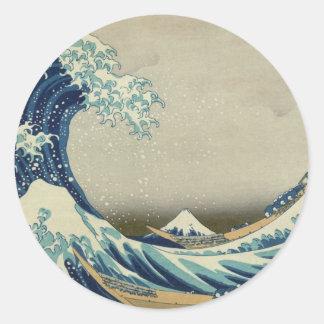 Vague de Kanagawa par Katsushika Hokusai Sticker Rond