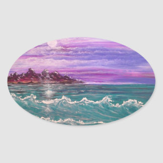 vague de plage sticker ovale