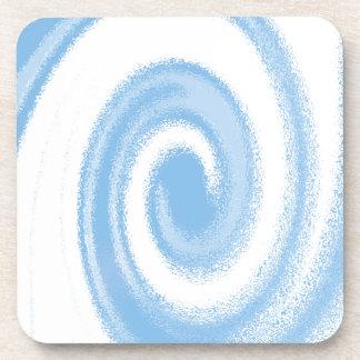 Vague en spirale graphique bleue et blanche de dessous-de-verre