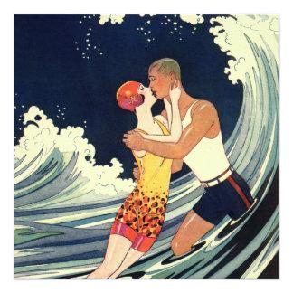 Vague romantique de plage de baiser d'amour carton d'invitation