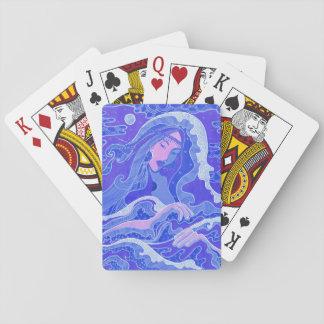 Vague, sirène, fille d'art d'imaginaire, bleu et cartes à jouer