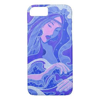 Vague, sirène, fille d'art d'imaginaire, bleu et coque iPhone 7