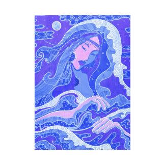 Vague, sirène, fille d'art d'imaginaire, bleu et toile