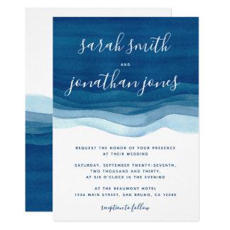 Vagues bleues d'aquarelle et faire-part de mariage