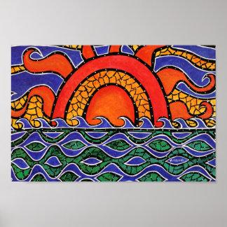Vagues colorées de plage de coucher du soleil poster