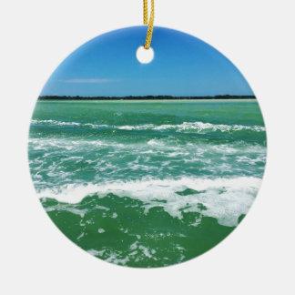 Vagues dans le Golfe du Mexique Ornement Rond En Céramique