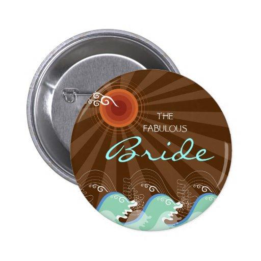 Vagues de cool et bouton nommé de mariage d'étique badges