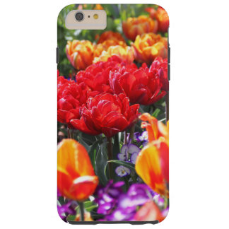 Vagues florales de cramoisi de Falln Coque Tough iPhone 6 Plus