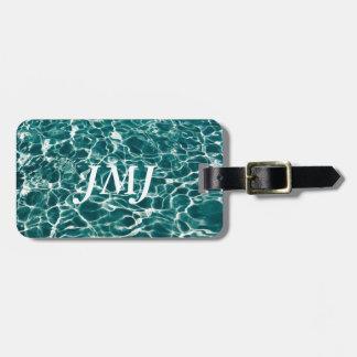 Vagues fraîches de piscine étiquette pour bagages