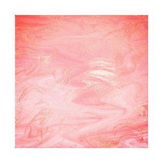 Vagues lumineuses de corail d'or d'abrégé sur de toile