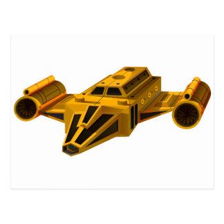 Vaisseau spatial jaune avec des ailes carte postale