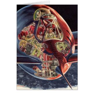 Vaisseau spatial vintage de Rocket d'astronaute de Carte De Vœux