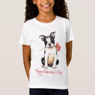 Valentine Boston rose Terrier T-Shirt