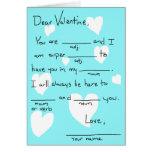 Valentine complètent le blanc carte de vœux