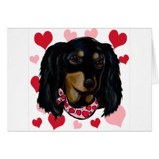 Valentine Doxie noir aux cheveux longs Carte De Vœux