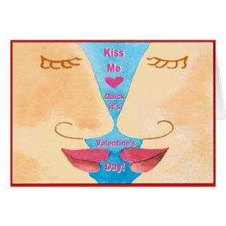 Valentine m'embrassent vite carte de vœux