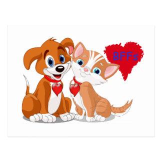 Valentines de BFFs de chien et de chat Carte Postale