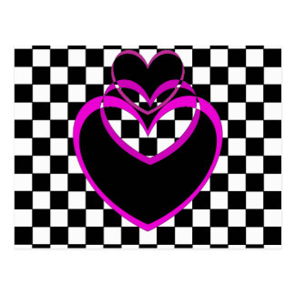 Valentines de coeurs pourpres de coeur de Popart Carte Postale