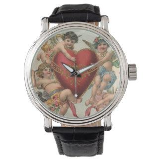 Valentines victoriens vintages, coeur d'anges montres bracelet