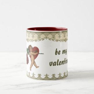 Valentines vintages, coeur victorien de rose rouge mug