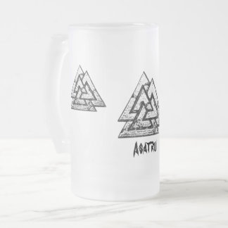 Valknut~ Frosted Glass Beer Mug