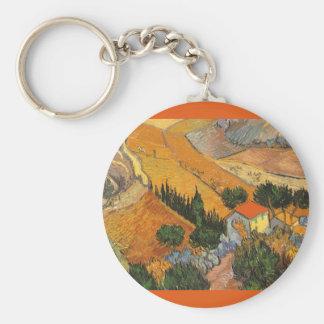 Vallée avec le laboureur par Vincent van Gogh Porte-clé Rond