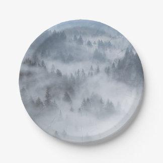 Vallée brumeuse de forêt assiettes en papier