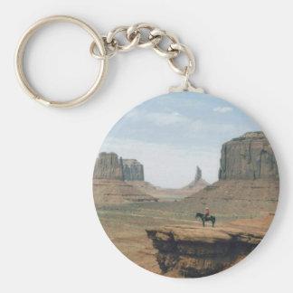 Vallée de monument avec le cowboy porte-clé rond