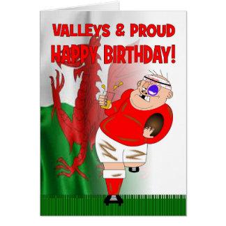 Vallées et carte d'anniversaire fière de rugby