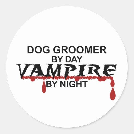 Vampire de Groomer de chien par nuit Adhésifs Ronds