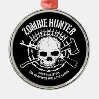 vampires de chasseur de zombi vivant complètement ornement rond argenté