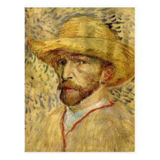Van Gogh ; Autoportrait avec le chapeau de paille Carte Postale